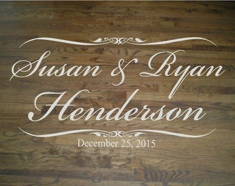 Wedding Floor/Wall Decal Script Bride and Groom Names and Last Name with Wedding Date