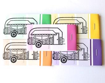 PAINT CHIP MATCHBOOK notepads Set of 5- Vintage Camper in brights