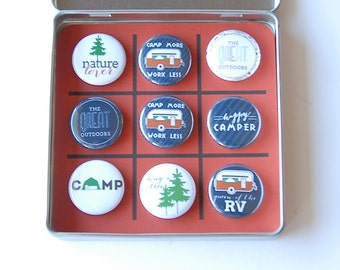 Tic Tac Toe Game Vintage Camper - Magnetic Travel Tic Tac Toe in a Tin Game-great for the RV