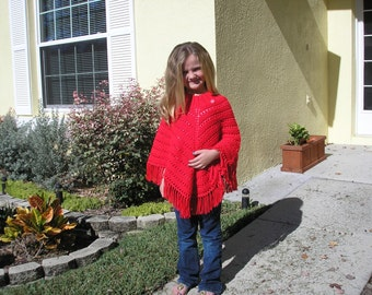 Knitted Poncho, Girls Large - Red