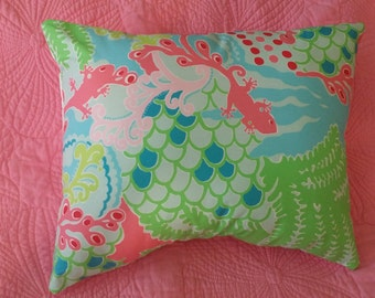 New Pillow Made with Lilly Pulitzer Blue Checking In fabric
