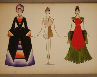 FASHION GOUACHE ORIGINAL Drawing 1940s gouache three teater outfits 15 x 10  inches