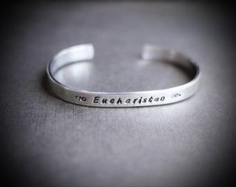 Aluminum Cuff Bracelet for Men or Women, Personalized Eucharisteo Grace Joy Thanksgiving