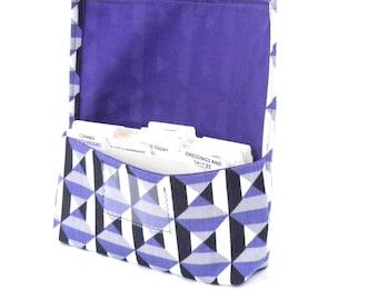 Coupon Organizer - Coupon Holder - Coupon Bag - Receipt Holder - Cash Wallet - Purple Geometric Fabric