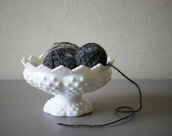 White Milk Glass Hobnail Flower Bowl and Candleholder by Fenton