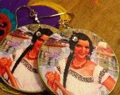Vintage Mexican Calendar Girl Earrings