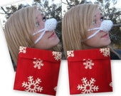 Pre Christmas Sale, TWO White Nose Warmers plus TWO Nose Warmer Holders in Red with White Snowflakes, Cold Nose Cover, Hat, Mitten, Sox
