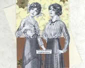 Gay Lesbian Wedding Engagement Card - Original Vintage Style Collage Art Card - We're In This Love Forever