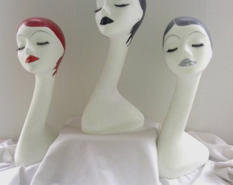 Set of 3 Hand Painted White Long Neck Styrofoam Mannequin Head Display, 19 inches Tall , Made to Order, Womens Mannequin Head Display