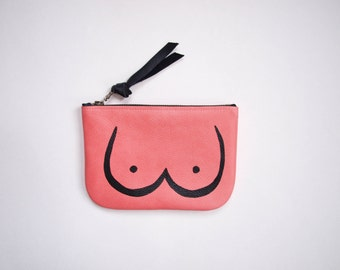 Lady Parts Zipper Pouch - Pink Leather