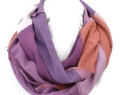 Hemp/Tencel and Hemp/Organic Cotton Infinity Scarf in Shades of Purple and Pink Handmade