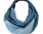 Hemp/Tencel and Hemp/Organic Cotton Infinity Scarf in Shades of Blues Handmade