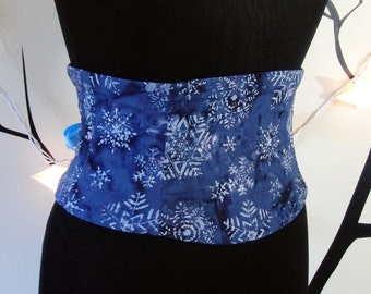 Indigo and Lavender Snowflake Batik Waist Cincher Corset Belt Any Size