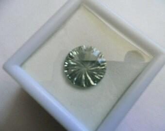 Loose Gemstone,Prasiolite,Green Amethyst,7.25ct,14mm Round,Brilliant,Millenium Starburst Fancy Cut