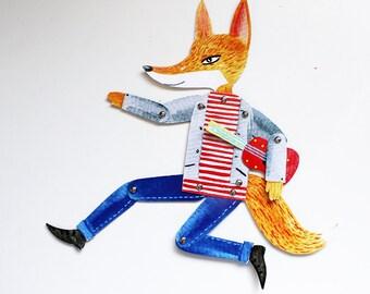 Fox paper doll - Articulated paper fox doll - Artist musician fox - DIY set