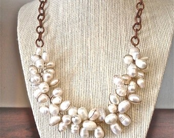Women handmade wired fresh water pearl necklace copper chain