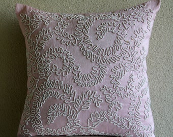 "Luxury Pink Throw Pillows Cover, 16""x16"" Silk Pillowcase, Square  Pearl Swirls Pillows Cover - Love Note"