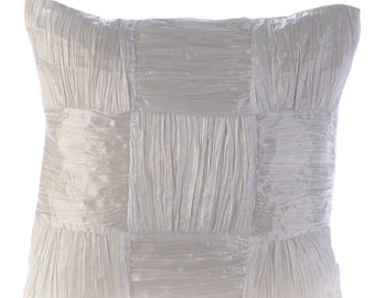 """Designer White Cushion Covers, 16""""x16"""" Crushed Silk Pillows Cover, Square  Crushed Solid Color Pillows Cover - Pure Dreams"""