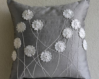 "Luxury Grey Throw Pillows Cover, 16""x16"" Silk Pillowcase, Square  Ribbon Flower Pillows Cover - Floral Whispers"
