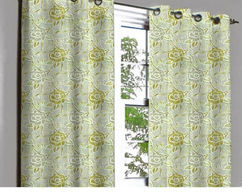 Rivalto Yellow Green Rose Grommet Blackout Lined Curtain in Textured Jacquard Weave Fabric Housewares Window Treatment Drapes Curtain Panels