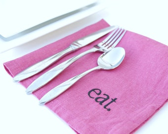 Dinner Napkins Set of 4 Napkins in HOT PINK Linen Napkins Gift Ideas Eco Friendly Embroidered Napkins Cloth Napkins 17 inch Napkins