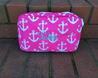 Personalized Pink Anchor Accessory Bag | Monogrammed Anchor Cosmetic Bag-Custom Pink Anchor Travel Pouch-Personalized Nautical Tote Bags