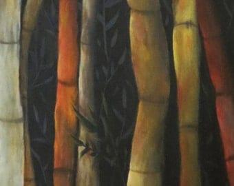 Large original acrylic painting on canvas. Bamboo painting huge 48x24 painting. Barbie Baughman original tree art,landscape,nature,wetland