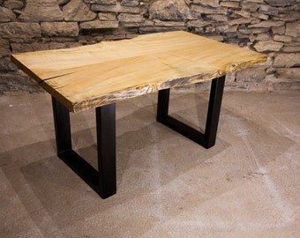 The Mill - Live Edge Slab Table With Industrial Base