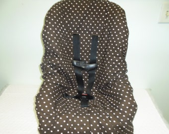 Brown with pink dots toddler car seat cover