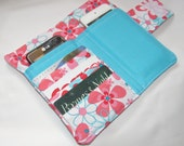 Cellphone, Iphone or Ipod Wallet Aqua Nearby Floral, Business Card organizer, Gift Card Holder - Ready to Ship