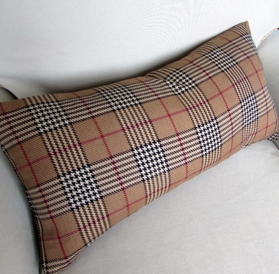 Decorative Plaid Pillows : COZY PLAID decorative designer pillow 13x26 insert included