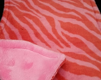 Pink zebra Minky  Burp Cloth