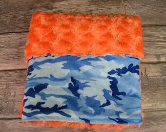 Blue Camo with orange swirl double minky blanket