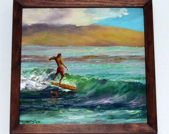 SURF JUNKIE Framed Original Oil Painting Art Surfer Surfing Surfboard Longboard Longboarder Dude Ocean Hawaii Paradise Vacation Island Relax