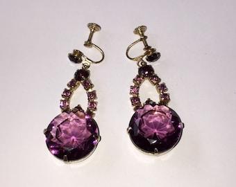 "Gorgeous Vtg PURPLE-Violet GLASS EARRINGS-Prong Set Dangling Screwbacks-2"" Long"