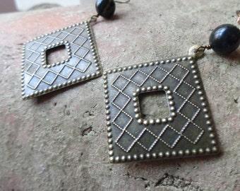 Vintage Brass Earrings, Geometric Brass Earrings, Bloodstone Jewelry