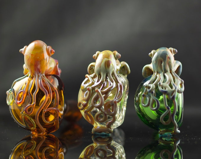 Cuttlefish Glass Pipe / Glass Spoon Pipe / Cephalopod / Handmade Pipe / American Made Glass / Pyrex / You Choose the Color / Made to Order