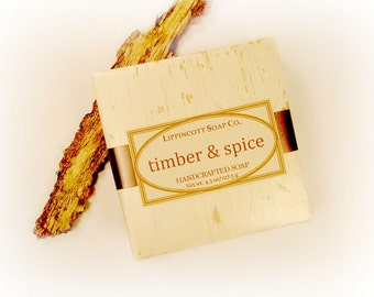Timber and Spice Soap, Cold Process Soap, Handmade Soap, Phthalate Free, Palm Oil Free, Wood, Spice, Patchouli, Men's Soap, Father's Day