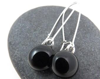 Black Earrings - Long Elegant Earrings - Black Glass Earrings - Sterling Silver Dangles