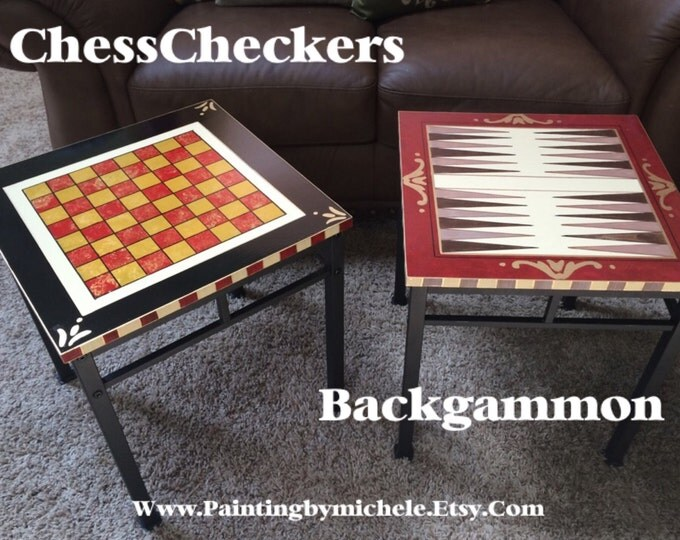Whimsical Painted Furniture, Painted Checkers table // Painted Game Table // Painted Backgammon Table // Whimsical Painted Table
