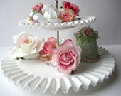 Vintage Fenton Milk Glass Hobnail Two Tiered Dessert Stand, Wedding Decor - Elegant