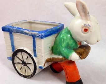 Vintage Rabbit Pulling Cart Planter Made In Japan