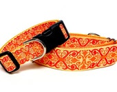 "1.5"" Martingale Dog Collar or 1"" tag / buckle collar TANGERINE CAMELOT orange, Greyhound Collar, Sighthound Collar, Adjustable, Training"