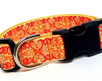 Tangerine Orange CAMELOT Dog Tag Collar