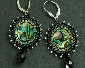 Abalone woven seed beaded earrings - Miguel Ases Style