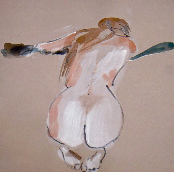 Nude painting- Original watercolor painting of Nude #968 by Gretchen Kelly