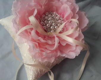 Ring Bearer Pillow Pink Peony Flower Elegant Ivory Bridal Lace Wedding Pillow