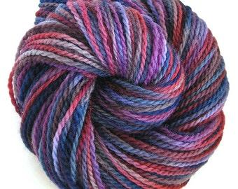 Hand Dyed Yarn Worsted Wool Yarn Navy Burgundy Purple - Twinkle