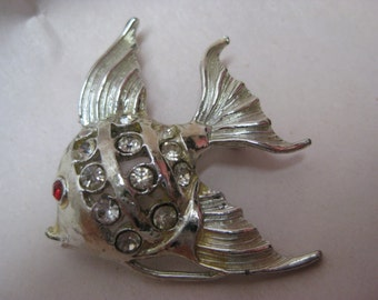 Fish Silver Brooch Rhinestone Clear Red Vintage Pin