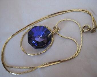 Purple Rhinestone Gold Necklace Vintage Pendant Amethyst Violet Dangle
